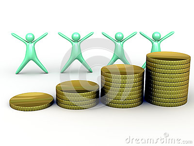 Rising gold coin stack