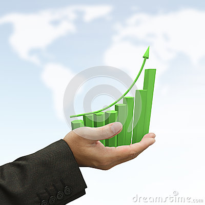 Free Rising Green Graph Royalty Free Stock Image - 25032956