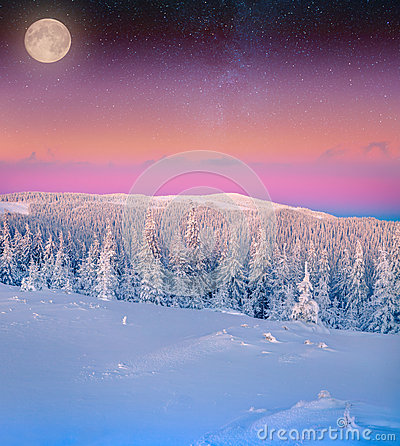 Free Rising Moon Over The Frosty Winter Mountains. Stock Image - 48580291