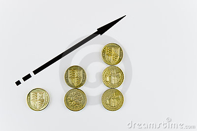Rising pound coins