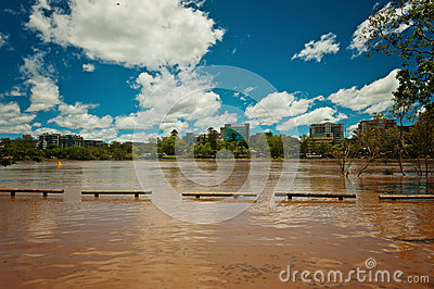 Rising river at West End, Brisbane Editorial Photography