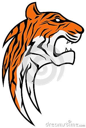 Rising Tiger Head, Colored