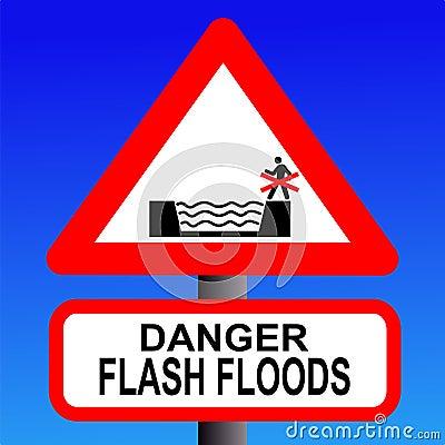 Risk of flash flooding sign