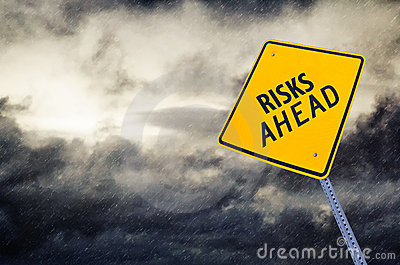 Risks Ahead Road Sign