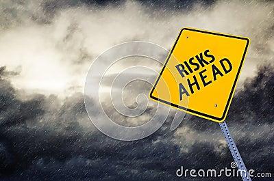 Risks Ahead Road Sign Stock Photo