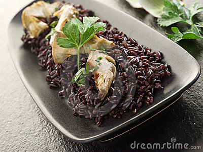 Risotto with black rice