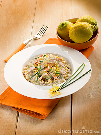Risotto with fresh salmon