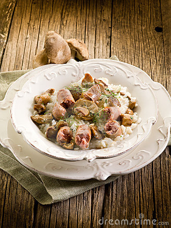 Risotto with mushroom and sausage