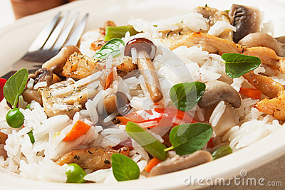 Risotto with mushrooms and chicken meat