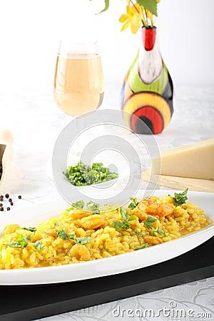Risotto with saffron and fresh shrimp