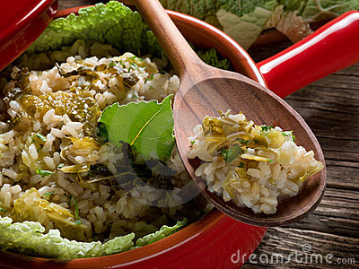 Risotto with savoy cabbage