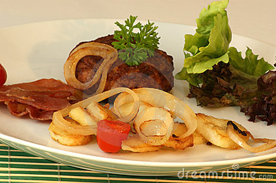 Rissole with grilled bacon and onion