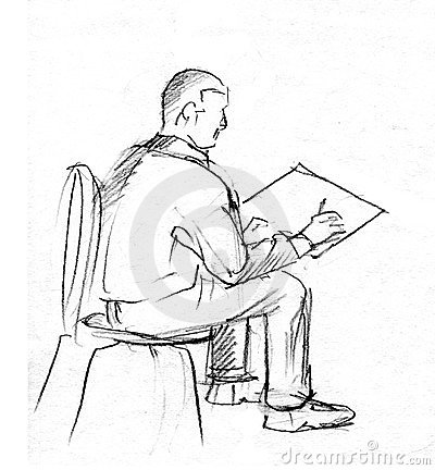 Sitting för blyertspennan för handen för stolsritare skissar ...