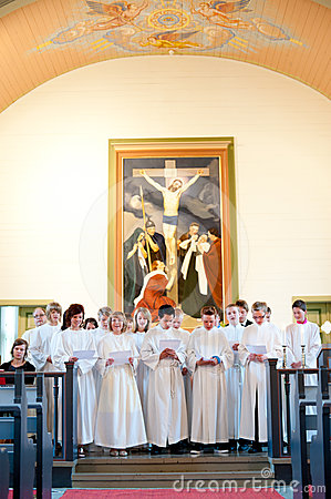 Rite of confirmation at Lutheran church Editorial Stock Photo