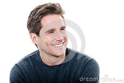 Ritratto a trentadue denti di sorriso dell uomo bello maturo