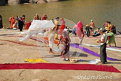 Indian ritual bath, Hampi, Karnathaka, India Editorial Image