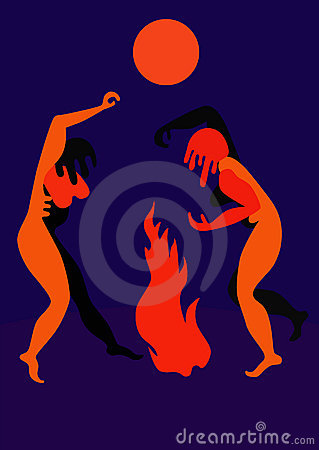 Free Ritual Dance By The Fire Royalty Free Stock Photos - 20702808