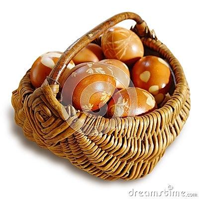 Ritual eggs in wicker basket