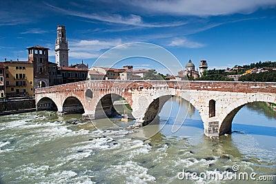 River adige crosses verona Editorial Photo