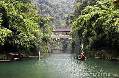 River in bamboo forest