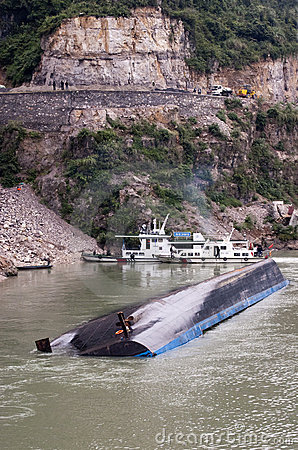 River Barge Accident, Yangtze River, China Travel Editorial Image