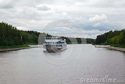 River boat cruise and river Moscow Canal