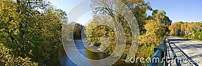 River and a Bridge in Autumn