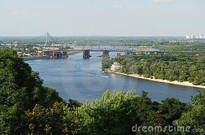 River with bridges, islands in the middle of Kyiv