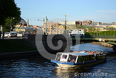 River channel in Saint-Petersburg Editorial Image