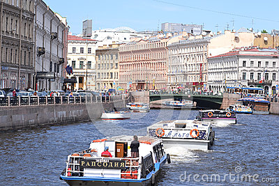 River channel in Saint-Petersburg Editorial Stock Photo