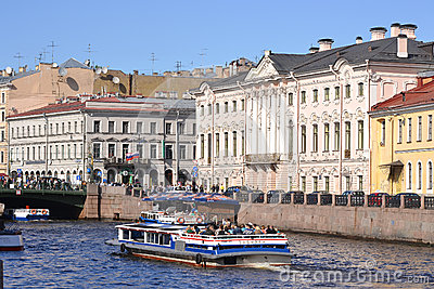 River channel in Saint-Petersburg Editorial Stock Image