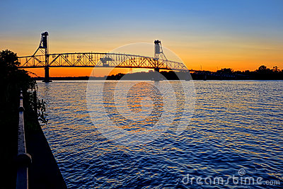 River Crossing Transportation Bridge at Sunset