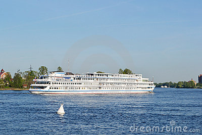 River cruise ship sailing on the river Neva Editorial Stock Image