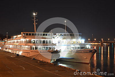 River Cruise Ships At Night Editorial Photo  Image 49524351