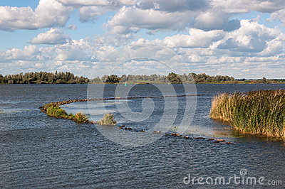 River with a curved breakwater in late sunlight