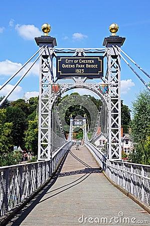 Free River Dee Suspension Bridge, Chester. Stock Image - 44980531