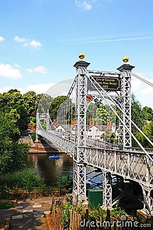 Free River Dee Suspension Bridge, Chester. Stock Photo - 45596470