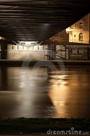 River flowing under bridge