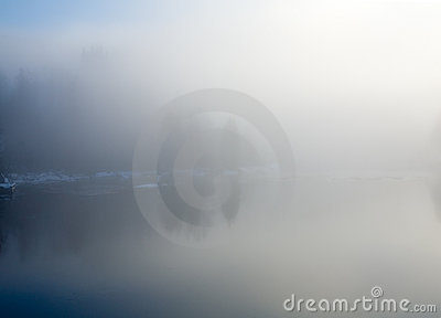 River in a frosty mist,