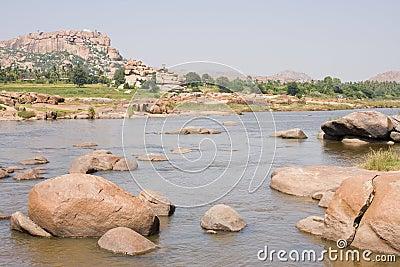 River full of big stones