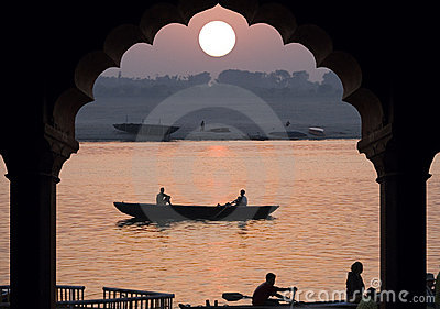River Ganges - Sunrise - India Editorial Stock Image