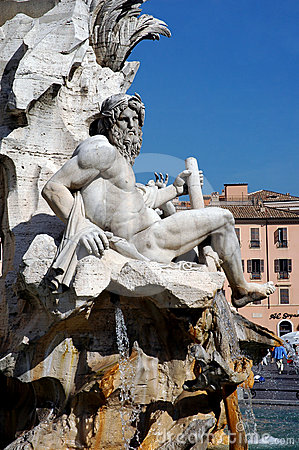 Rome, Navona Square, River God Ganges Sculpture