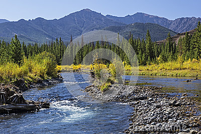 River gravel bar and mountains