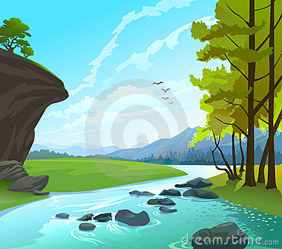 River , hills and rocks  Landscape