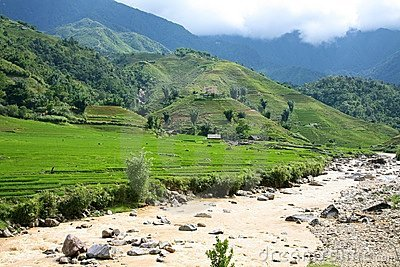 River and Hills in Sapa, Vietnam