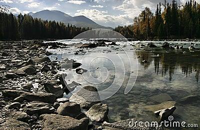 River by Kanas Lake