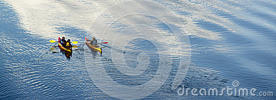 Family River Kayaking on Oregon Waterway Editorial Stock Image