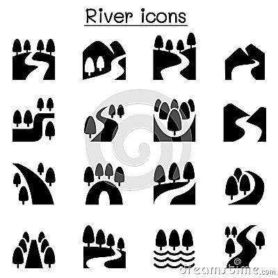 Free River, Lake , Canal Nature Icons Set Stock Image - 78063381
