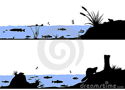 River life vector silhouette illustration