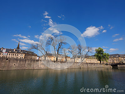 River Moselle and Opera in Metz Stock Photo